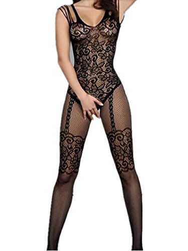 Amstt Women Sexy Lingerie crotchless Bodystockings Babydoll Bodysuits (Black Womens Bodystocking)