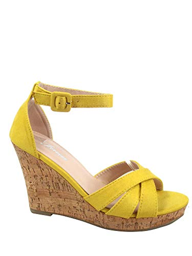 FZ-Seal-30 Women's Fashion Open Toe Ankle Buckle Strap Wedge Platform Sandals Shoes (8 B(M) US, Mustard) ()