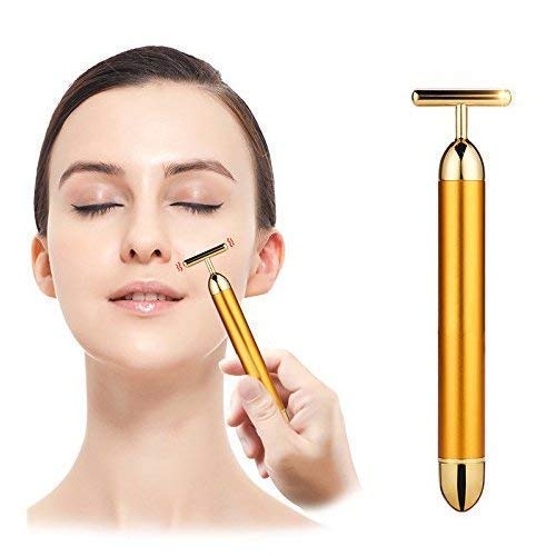 1Pc 24K Gold Energy Beauty Bar Electric Vibration Facial Massage Roller | Waterproof Face Skin Care T-Shaped Anti…