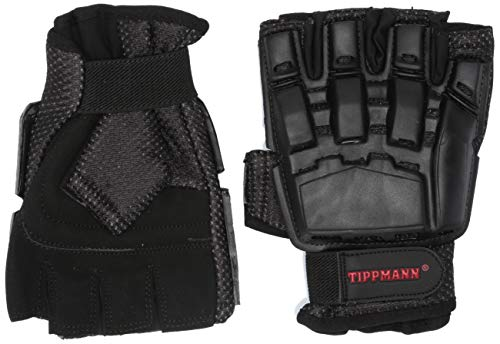 Tippmann Armored Gloves Fingerless/Half Finger Gloves Fit for Paintball & Air Soft, Black, Large