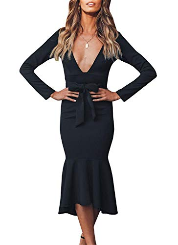 - Ybenlow Womens Mermaid Long Sleeve Bodycon V Neck Ruffle Bow Tie Belted Long Party Dresses