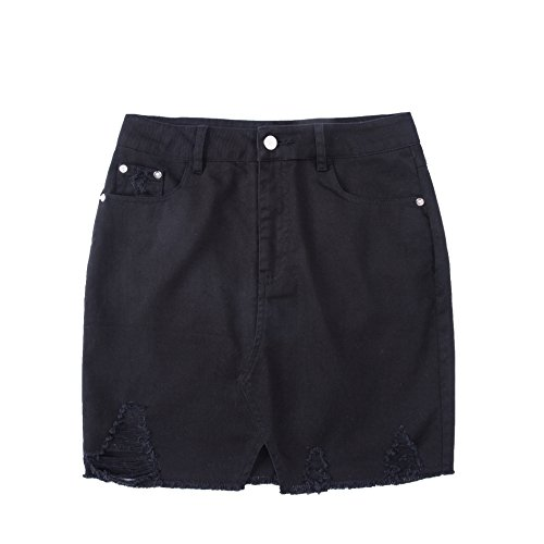 Tronjori Womens Distressed Ripped Denim Short Pencel Skirt, Frayed Hem(M,Black)