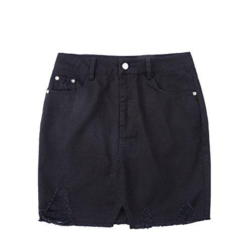 Tronjori Womens Distressed Ripped Denim Short Pencel Skirt, Frayed Hem(XL,Black) (Frayed Mini Skirt)