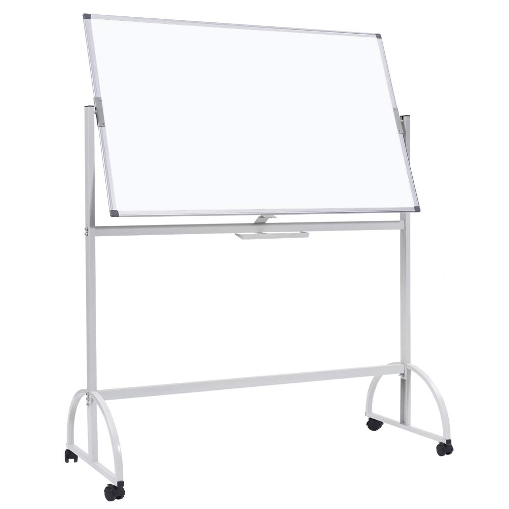 Mobile Whiteboard, Double Sided Dry Erase Board Large Rolling Stand White Board Magnetic Movable Whiteboard Aluminum Frame Classroom Whiteboard on Wheels 46 x 33 inches by maxtek