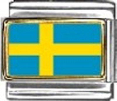 Sweden Photo Flag Italian Charm Bracelet Jewelry - 9mm New Charm Photo Italian