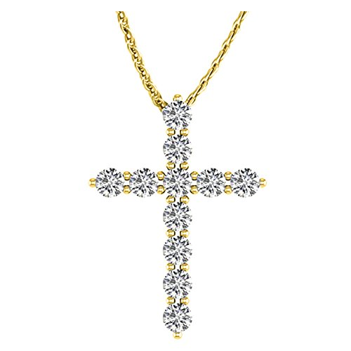 1 Carat Total Weight 14K Yellow Gold Diamond Cross Value Collection ()