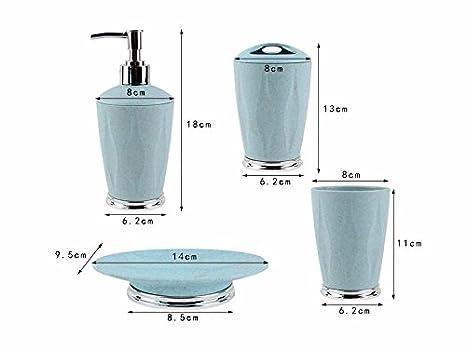 Luckyfree Ronda de fibra de plástico de 4 piezas Set de accesorios de baño Accesorios de Baño jabonera, porta cepillo de dientes,botes de loción,Diente ...