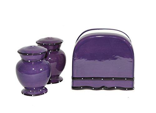 Tuscany Purple Ruffle Napkin Holder, Salt & Pepper Set, 86028 By (Napkin Holder Set)