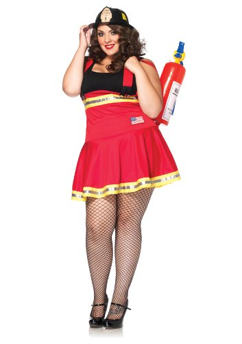 Leg Avenue Three Alarm Hottie Firefighter Outfit Sexy Fancy Dress Plus Size Costume, 1X/2X (16-20)