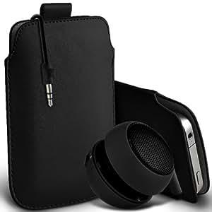 Nokia Lumia 720 premium protección PU ficha de extracción Slip Cord En la cubierta de la caja del filtro del bolsillo de la Piel y Mini recargable portátil de 3,5 mm Cápsula Viajes Bass Speaker Jack Negro por Spyrox