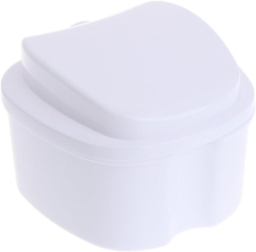 Milue Denture Bath Case False Teeth Storage Box Hanging Net Container Rinsing Basket Light Blue