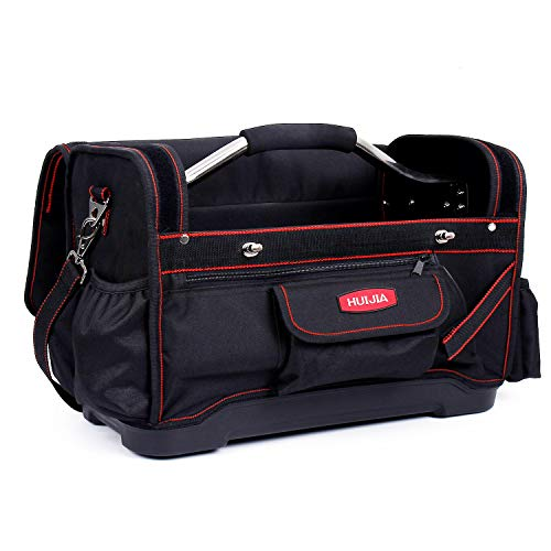 - HUIJIA 17-inch Tool Bag Heavy Duty Tool Organizers Hard Bottom Waterproof Storage Tool Bags With steel pipe handle and Adjustable Strap