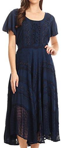 Sakkas 15323 - Mila Long Corset Embroidered Cap Sleeve Dress with Adjustable Waist - Navy - 1X/2X