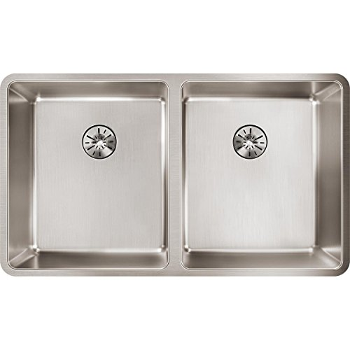 Elkay Lustertone Iconix ETRU31189PD Double Bowl Undermount Stainless Steel Sink with Perfect Drain
