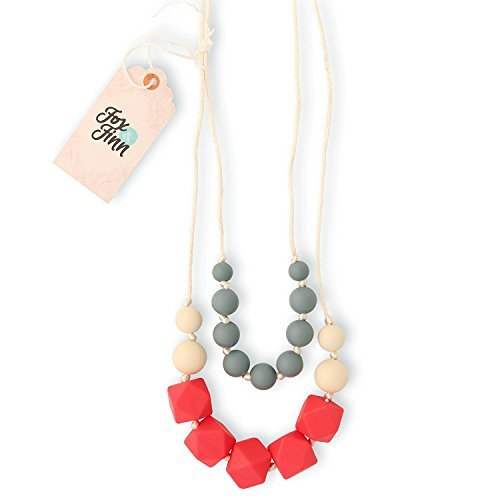 Fox and Finn 'Isabella' Silicone Teething Necklace for Babies | Safety Knotted Silk Rope | Does Not Pull Hair Out | 14 Inch Drop (coral + smoke + (Fox Coral Necklace)