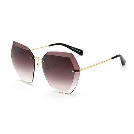 2df842e30b4798 Sunny Honey Damen Sonnenbrille Persönlichkeit Ohne Rahmen Cutting  Edge-Objektiv (Farbe : Brown): Amazon.de: Garten