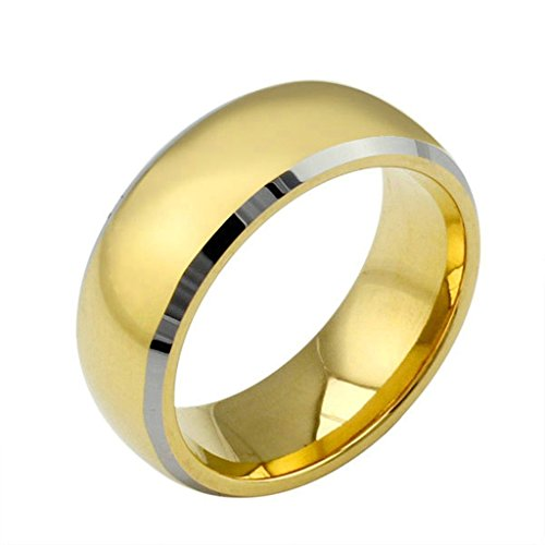 KnSam Men Stainless Steel Wedding Bands 8MM High Polish Comfort Fit Gold Silver Size 9