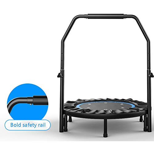 YXLONG Fitness Trampoline Adult with Handrail Adjustable Indoor Trampoline Folding Can Bear 1000 G, Ultra-Quiet,45 Inches,45-inchArmrestBlue
