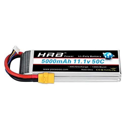 HRB 11.1V 5000mAh 3S LiPo Battery Pack 50C XT90 Plug for Traxxas RC Cars Slash vxl Slash 4x4 vxl E-maxx Brushless Axial e-revo Brushless