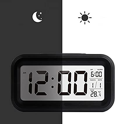 Nero 5.3Sveglia Digitale,Shawe Clock con Grande HD Schermo,Batteria Funzionato,Impostazione Semplice,Funzione Snooze,Esposizione di temperatura,Facile per viaggi