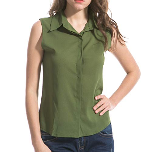 GHrcvdhw Women Tank Tops Plus Size Lapel Sleeveless Casual Summer Solid Color Tops Blouse Army Green