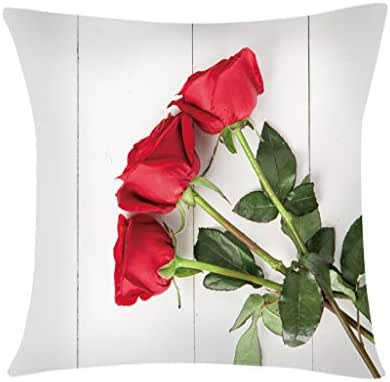 Houshelp Home Decor Cotton Linen Red Love Valentine's Day Decorative Throw Pillow Covers Cushion Covers Cotton Linen Home Decorative Throw Pillow Case Cushion Cover Gift 45x45cm