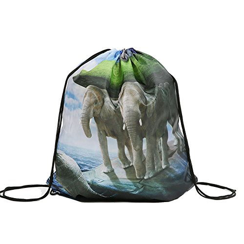 Colorpole Animal Planet Design Drawstring Bags Sackpack Stringbag Backpack School Bag (Pure Earth)