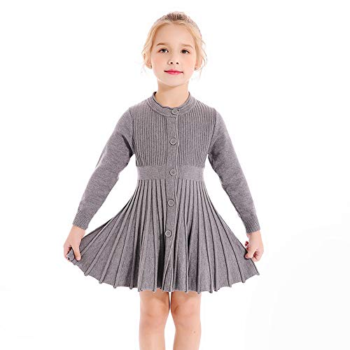 SMILING PINKER Little Girls Pleated Dress School Uniform Long Sleeve Button Front Knit Sweater Dress (Grey, 4-5)