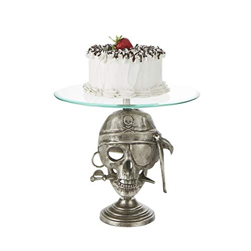 Mind Reader PIRATECAKE-SIL 21 Inch, Party Cake, Cupcake Stand Holder, Dessert Display Tray, Silver, One Size