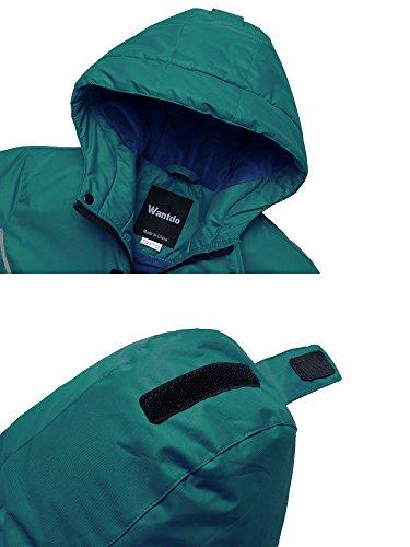 Wantdo Boy's Windproof Skiing Jacket Fleece Lined Hoodies Short Parka Rainwear(Blackish Green, 10/12) by Wantdo (Image #4)