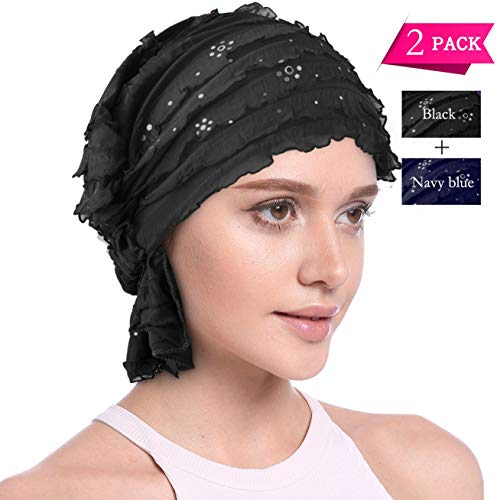 JarseHera Ruffle Chemo Turban Slip-on Cancer Scarf Stretch Cap Headwear for Hair Loss (2 Pair Sequin,Black+Navy Blue, One Size Fit All) ()