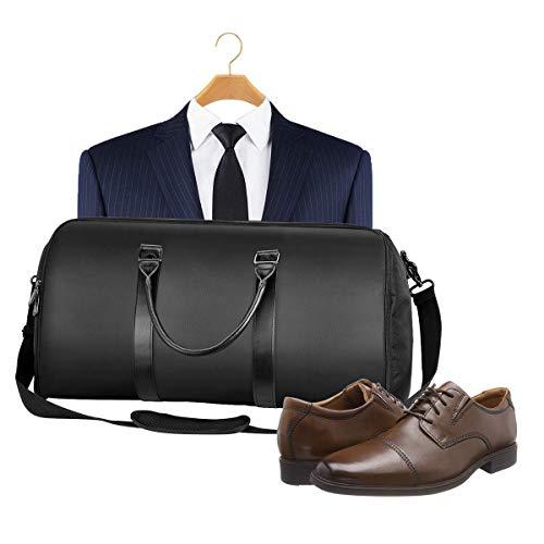 Housse-de-Costume-Voyage-avec-Bandoulire-Rglable-et-Pochette--Chaussures-Sac-Housses--vtements-Portable-pour-Voyage-ou-Sport-Homme-et-Femme-Noir