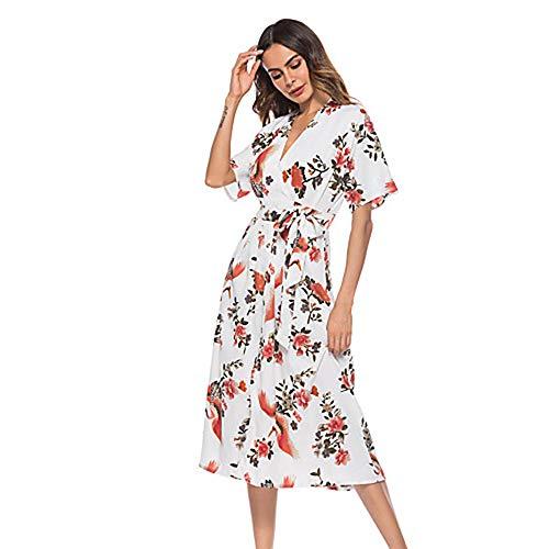 JIZHI Mujer Chic De Calle Vaina Vestido Floral Midi,White,S