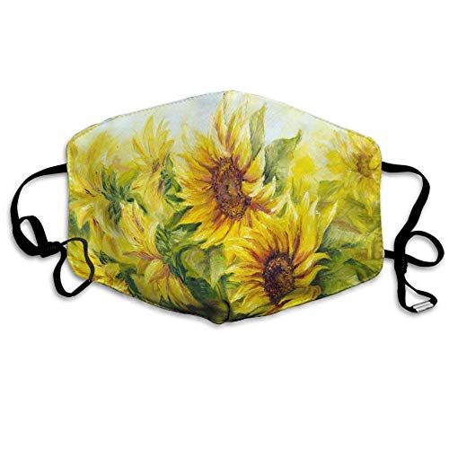 Fashion Face Masks Earloop Hypoallergenic Half Face Mouth Mask For Pollen Smog Medical Cleaning, Women Men Kids - Healthy (Yellow Sunflower Painting Mouth Mask)
