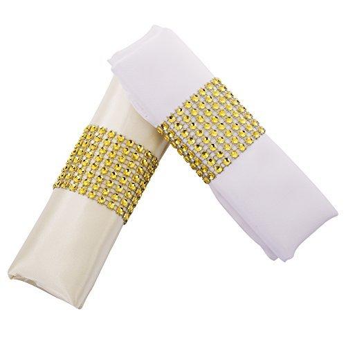 Carlie Napkin Rings Rhinestone Napkin Rings Adornment For Wedding Party (100 PCS, Gold)