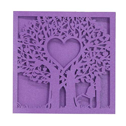 (Cards & Invitations - 20 Pcs Card Paper Square Announcement Elegant Pattern Wedding Invitation 15 Cm Violet Lover Tree - Violet Date The Card Card Flex Birthday Magnet Violet Card L)
