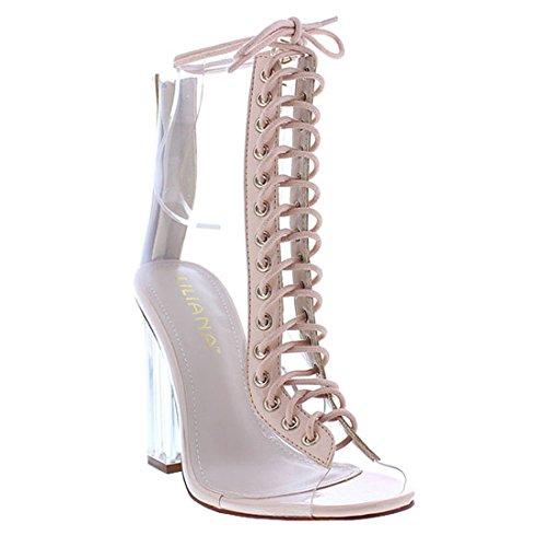 ISEYMI SHOES LILIANA EG25 Women's Lace Up Back Zipper Lucite Clear Ankle High Heel Booties ( Color : NUDE , Size : 11 )