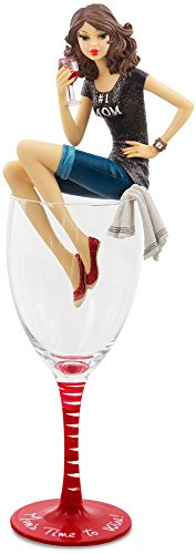 Hiccup by H2Z 73697 Mom s Time to Wine Mommy Girl in Glass, 11-1 4-Inch High