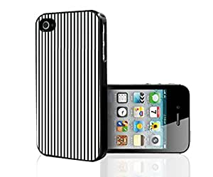 Black and White Thin Stripes Hard Snap on Phone Case (iPhone 4/4s)