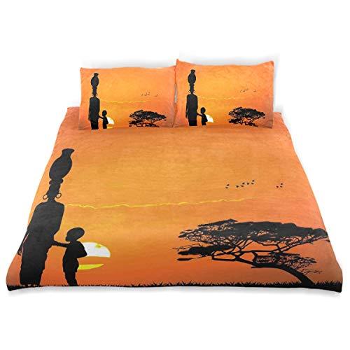 (MIGAGA Duvet Cover Set, Child and Mother at Sunset Walking Savannah Desert Dawn Kenya Nature Image Print, Decorative 3Pc Bedding Sets with 2 Pillow Shams King Size )