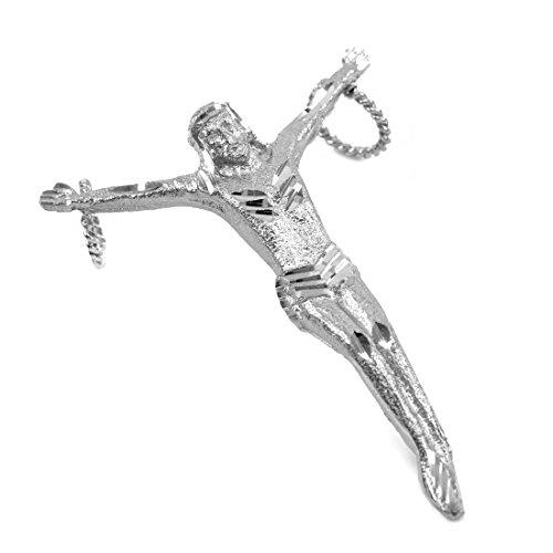 Homme Collier Pendentif 14 Ct Or Blanc Sans Croix Crucifix (Large) (Livré avec une 45cm Chaîne)