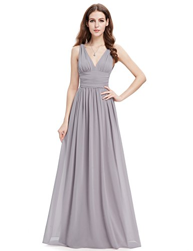 Ever Pretty Womens Double V Neck Ruched Waist Long Evening Dress 12 US Grey
