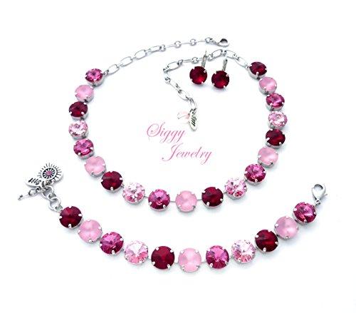 (Swarovski Crystal Stacking Bracelet, Necklace Or Set Multi Shades of Pink, Siam Red, Rose, 12mm rivoli, Heart and Key Charms, Pink Velvet )