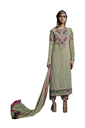 Da Facioun Femmes Indiennes Concepteur Partywear Ethnique Lumière Traditionelles Vert Salwar Kameez.