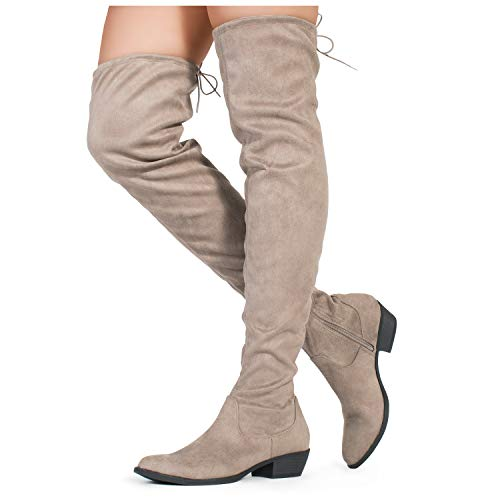 Taupe OF Low Medium RF Over Pull Women's FASHION Stretch in The Wide Heel Knee Boots ROOM and On Calf Block Available Fg05q5wrR