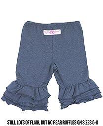RuffleButts Infant / Toddler Girls Ruffled Bermuda Shorts - Blue - 6-12m