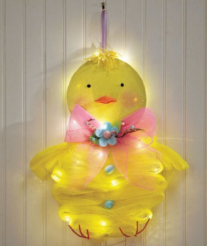Decor Wreath (Adorable Lighted Easter Chick Peep Cordless Battery Operated Mesh Door Wall Hanger Decor Springtime Lights up Whimsical Cute Door)