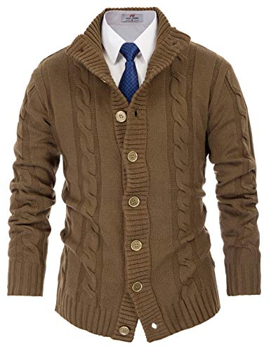 PAUL JONES Mens Thick and Warm Stand Collar Button Cardigan Sweater 2XL Coyote