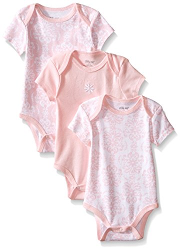 Damask Baby Girl Clothes (Little Me Baby-Girls Newborn Damask Scroll 3 Pack Bodysuit, Pink/Multi,)