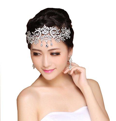 - eNice Lady Crystal Rhinestone Headband Wedding Bridal Head Wear Headdress Chain Hair Jewelry